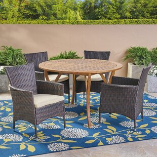 5 Piece Teak Dining Set with Cushions by ..