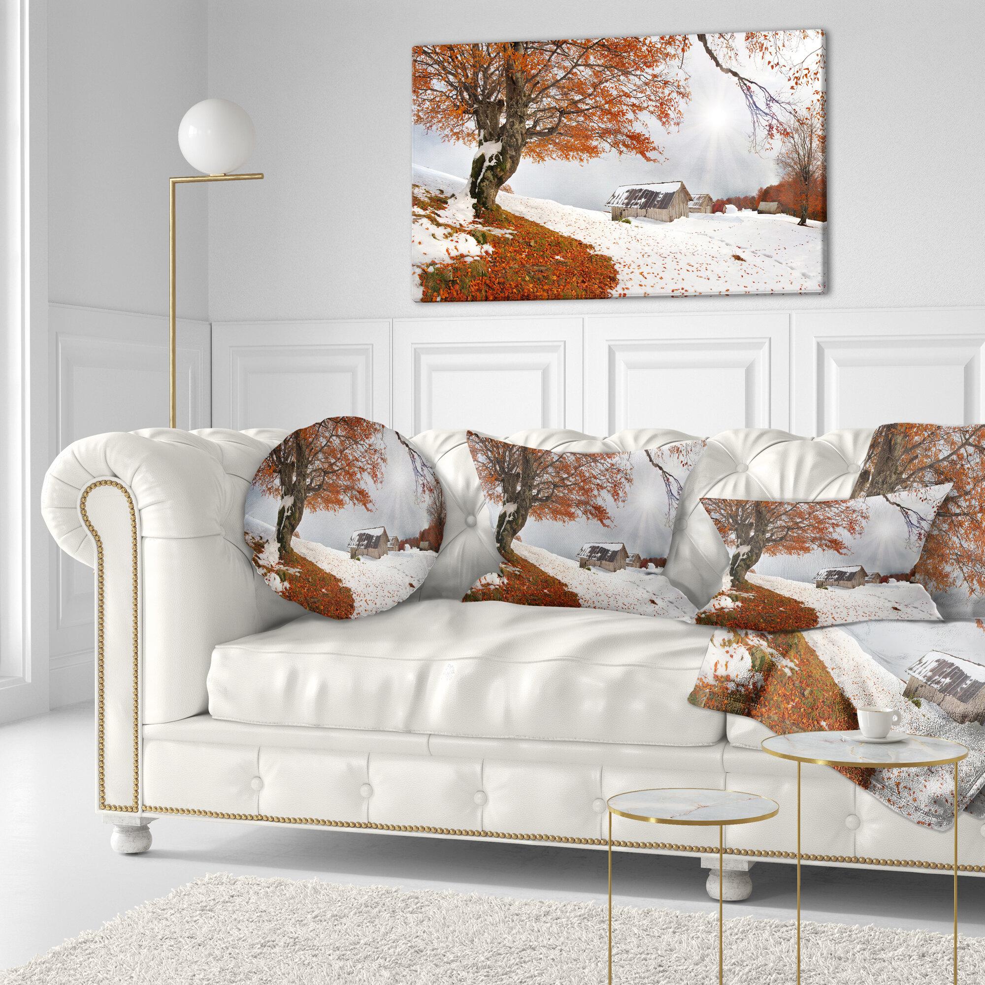 East Urban Home Landscape Photography Sudden Snow In First Autumn Lumbar Pillow Wayfair