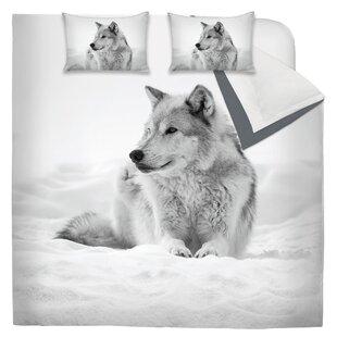 Diaz Printed Snowy Wolf Reversible Comforter Set by Millwood Pines