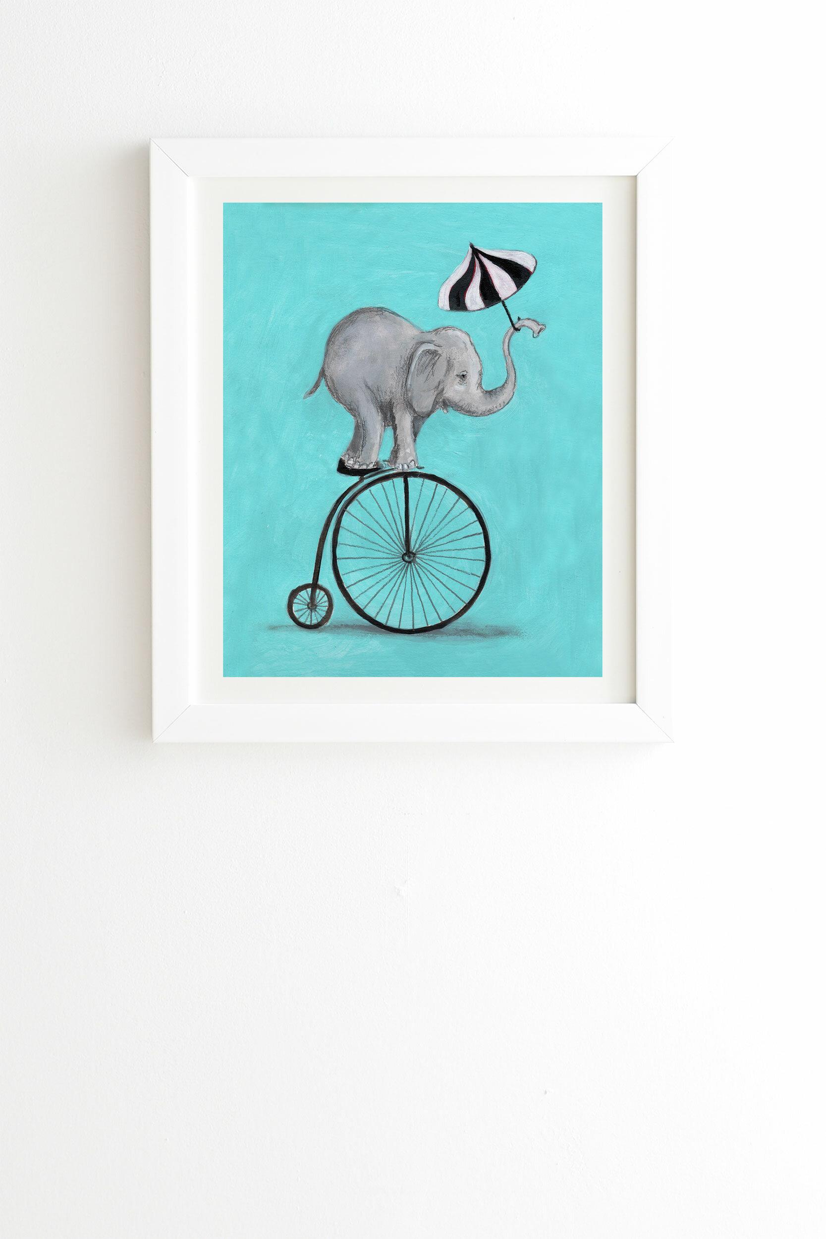 East Urban Home Coco De Paris Elephant With Umbrella Framed Graphic Art Wayfair