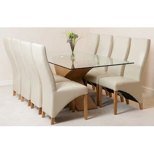 Ediz Glass Dining Set With 8 Chairs By Ebern Designs