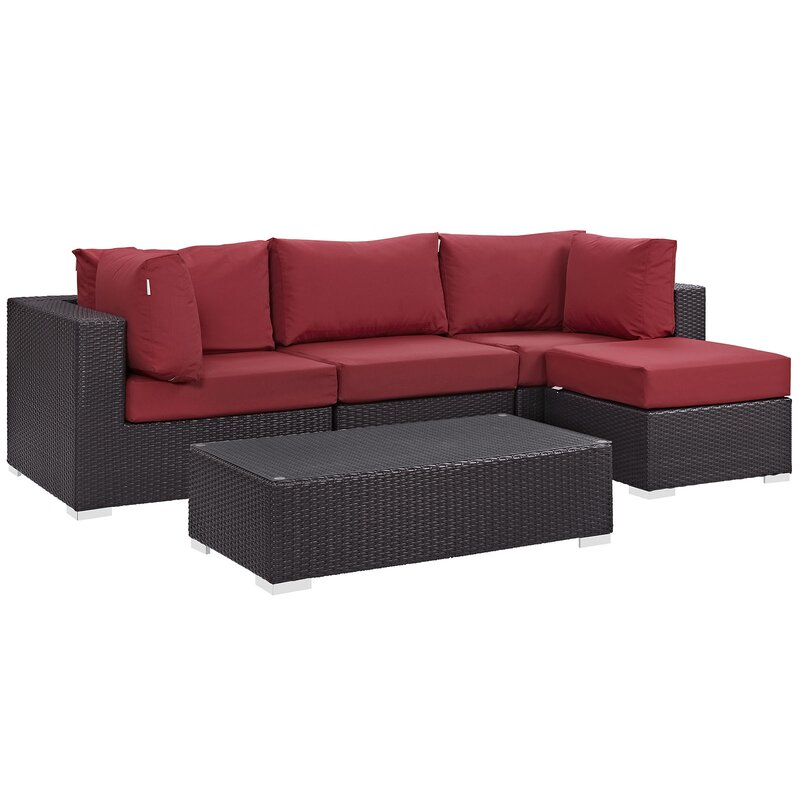 Sol 72 Outdoor  Brentwood 5 Piece Rattan Sectional Set with Cushions Fabric: Red