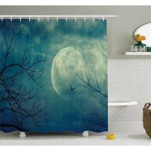 Horror House Halloween With Full Moon In Sky And Dead Tree Branches Evil Haunted Forest Shower Curtain Set