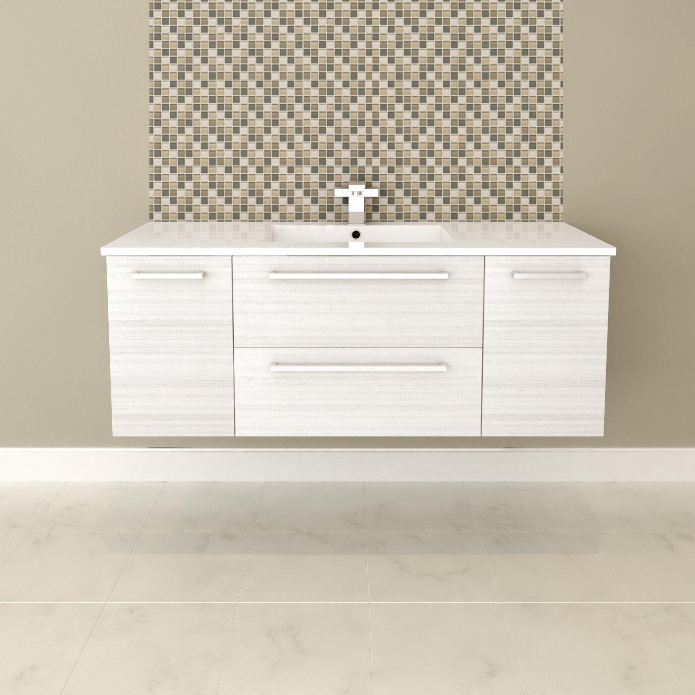 Mercury Row Akron 48 Wall Mounted Single Bathroom Vanity Set Reviews Wayfair
