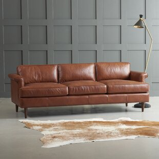 Compare prices Carson Leather Sofa by Wayfair Custom Upholstery™ Reviews (2019) & Buyer's Guide