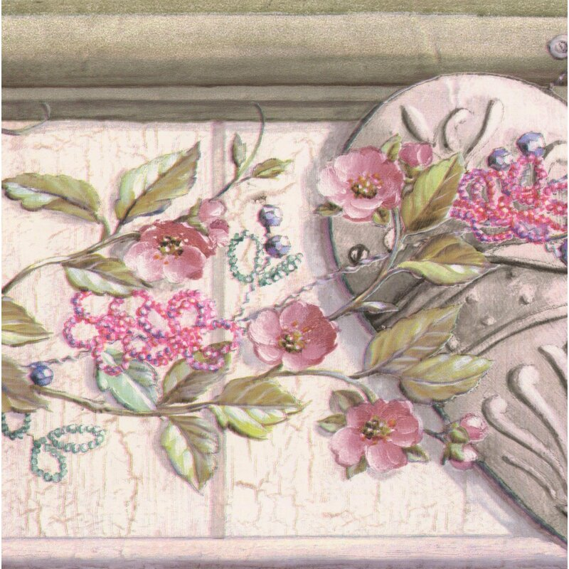 Shelf Border Vintage Embossed White/ Green Leaves Wallpaper Border Other Antique Decorative Arts
