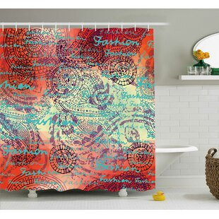 Alvarado Grunge Indian Paisley Shower Curtain + Hooks