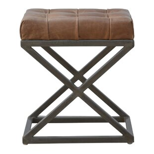 Crisman Industrial Cross Base D-Button Leather Seat Pad Upholstered Dining Chair by 17 Stories