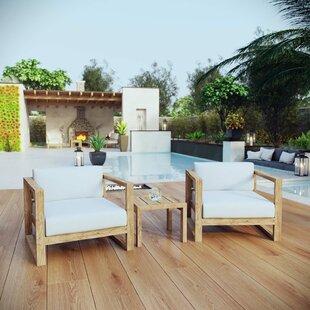 Foundry Select Bartz 3 Piece Teak Sofa Set with Cushions