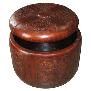 Colonial Bouquet Storage Leather Ottoman by New World Trading
