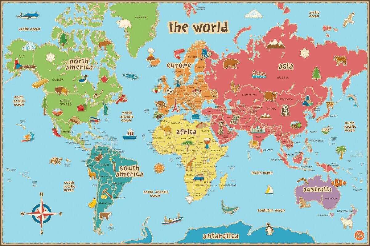 Viv rae lucas world map wall decal reviews wayfair lucas world map wall decal amipublicfo Images