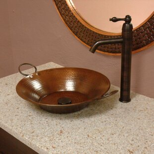 Premier Copper Products Miners Pan Metal Circular Vessel Bathroom Sink with Faucet