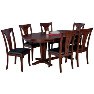 Doretha 7 Piece Solid Wood Dining Set with Dual Pedestal Table