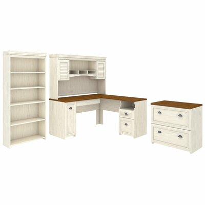 Oakridge 4 Piece Office Set with Hutch Color: Antique White by Beachcrest Home