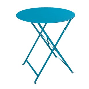 Fennell Patio Round Folding Powder Coated Steel Bistro Table
