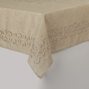 Carly Embroidered Scroll Design Tablecloth
