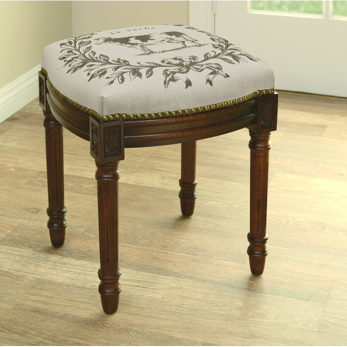 Magnificent Kimbrel Cow Linen Upholstered Vanity Stool With Nailhead Cjindustries Chair Design For Home Cjindustriesco