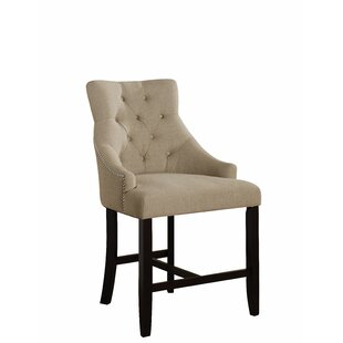 Dorfman Cream Fabric Walnut Finish Counter Height Chair by Major-Q