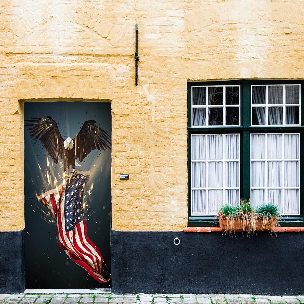 The Holiday Aisle Bald Eagle American Flag Door Mural Wayfair