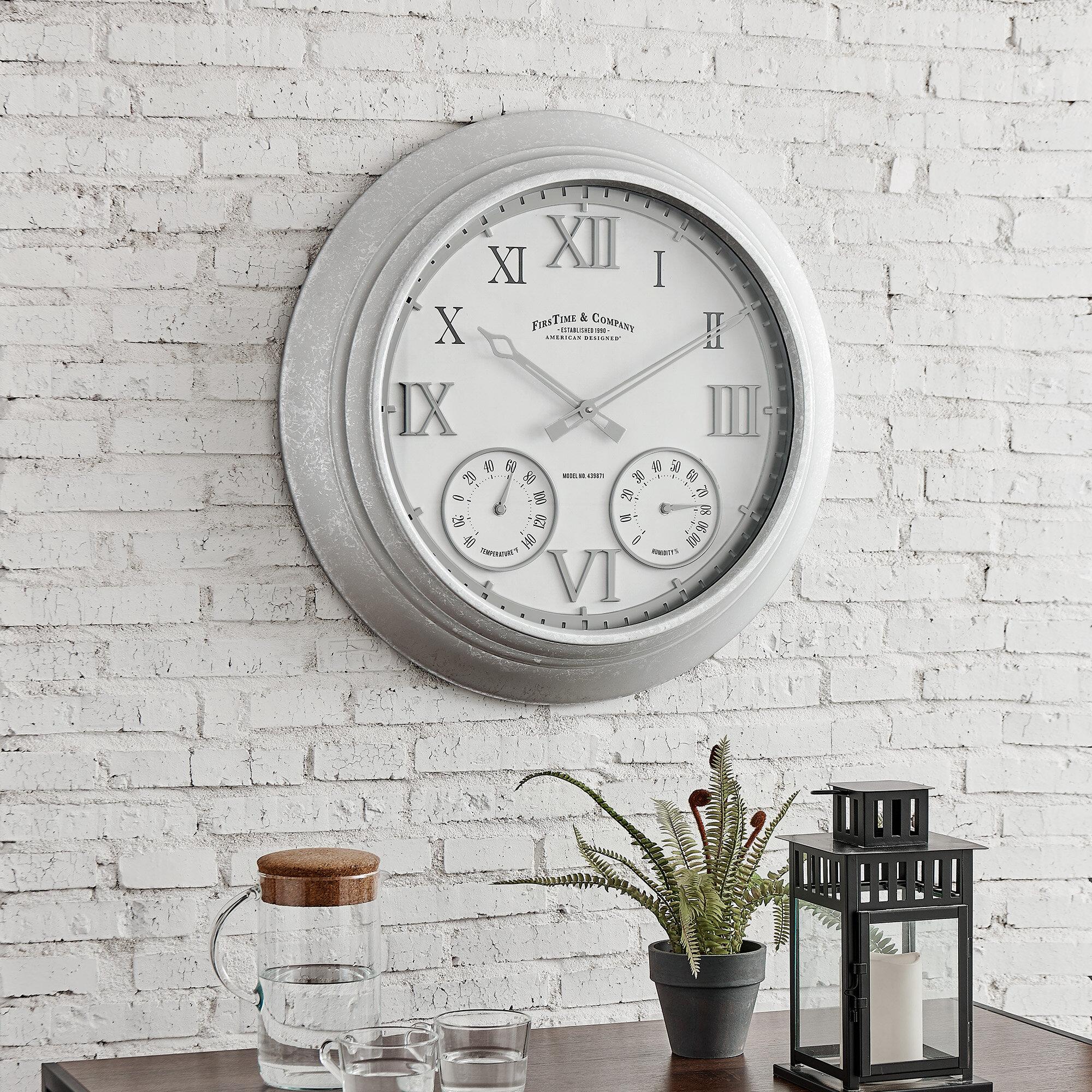 Gracie Oaks Damit Oversized Outdoor 24 Wall Clock Reviews Wayfair