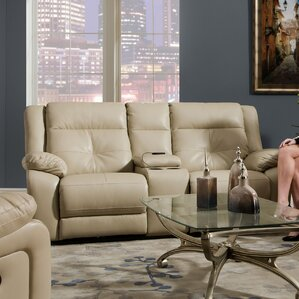Simmons Upholstery Obryan Pearl Double Motion Console Reclining Loveseat by Darby Home Co