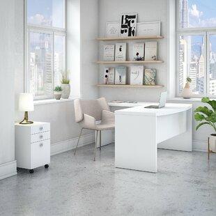 Kathy Ireland Office by Bush Echo Bow Front 3 Piece L-Shape Desk Office Suite