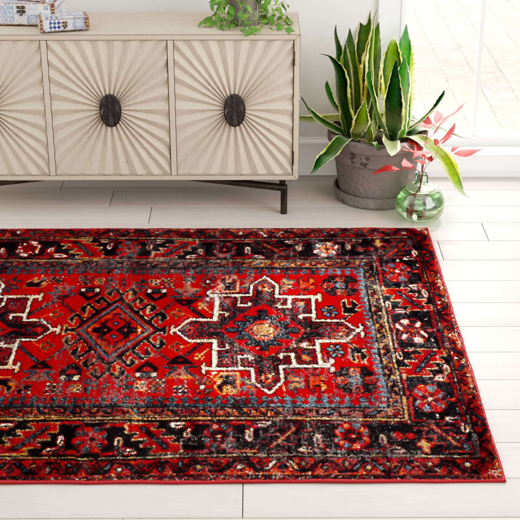 Bloomsbury Market Barrera Southwestern Red Area Rug Reviews Wayfair