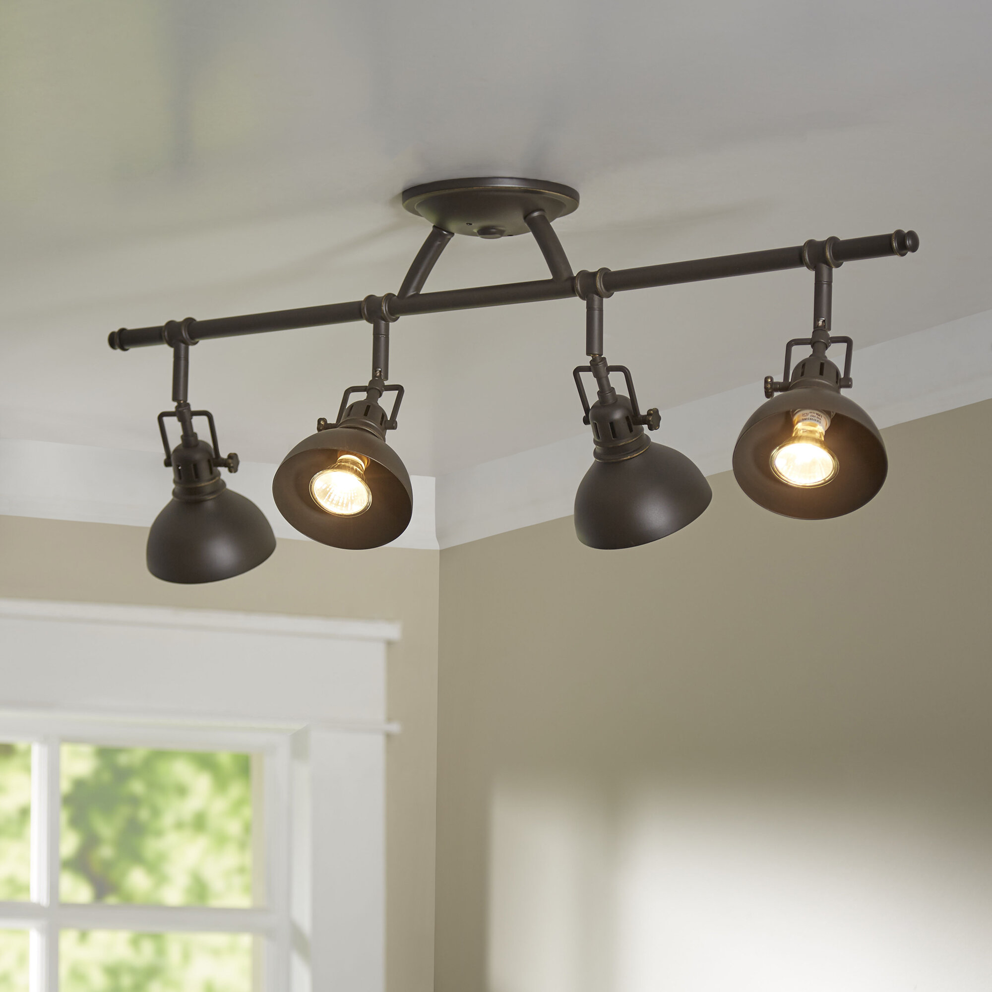 Track lighting youll love wayfair dollinger 4 light semi flush mount mozeypictures Gallery