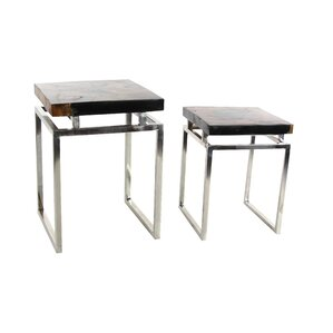 Abbe 2 Piece Teak Wood Metal Nesting Tables Set by Latitude Run