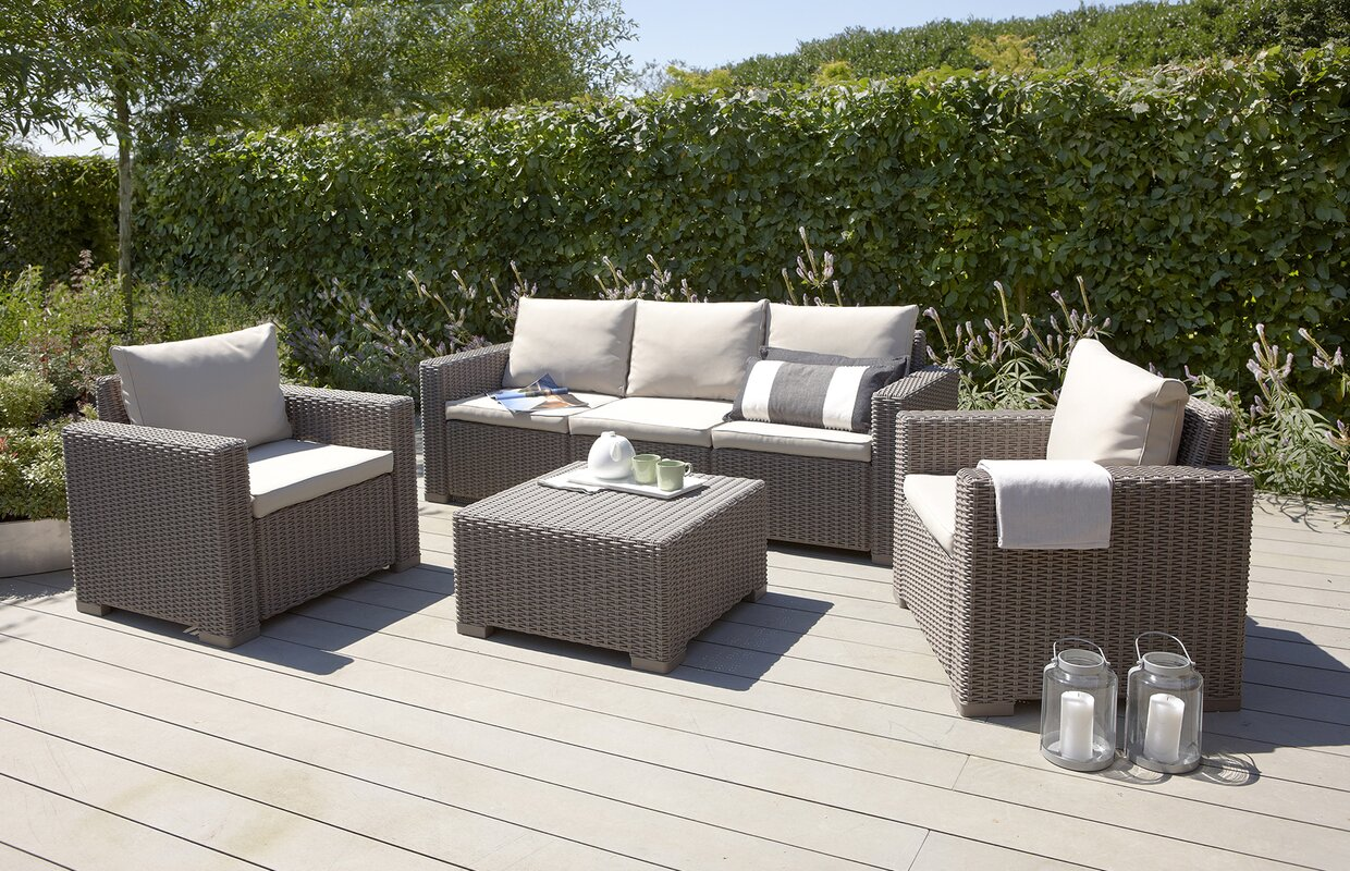California 5 Seater Rattan Sofa Set With Cushions