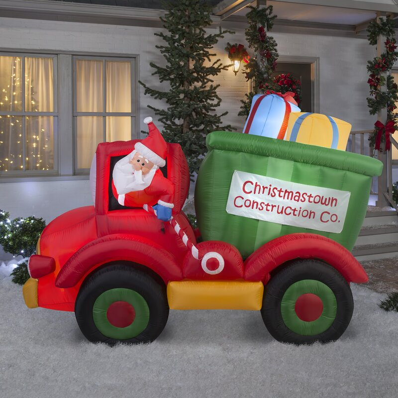 Animated Airblown Dump Truck with Presents Inflatable