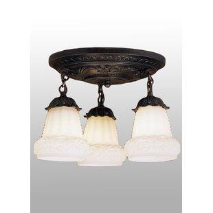 Inexpensive 3-Light Shower Semi Flush Mount By Meyda Tiffany
