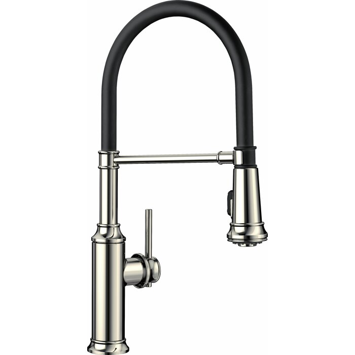 Polished Nickel Kitchen Faucet | Empressa Semi Pro Pull Down Single Handle Kitchen Faucet