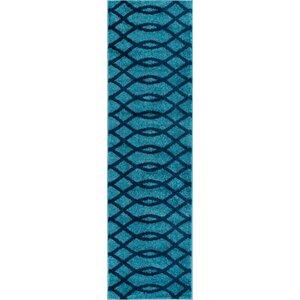 Chrisman Modern Abstract Lines Blue Area Rug