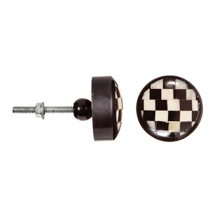 Black Checker Round Knob