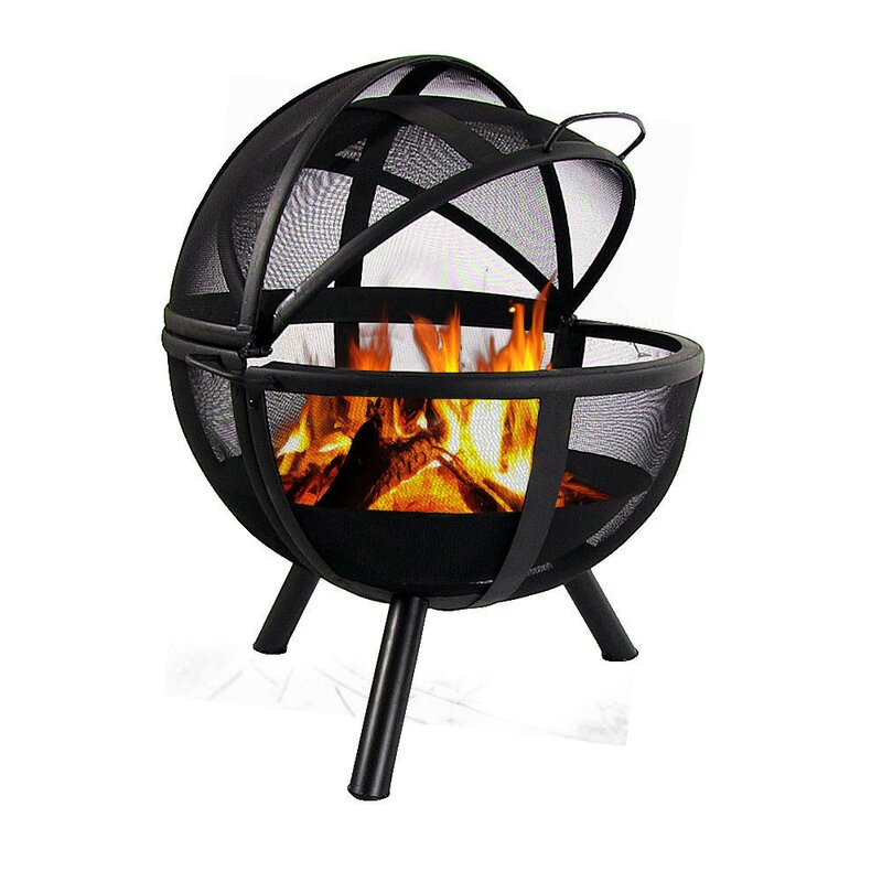 Sphere Flaming Ball Steel Wood Fire Pit with Protective Cover - Wildon Home ® Sphere Flaming Ball Steel Wood Fire Pit With