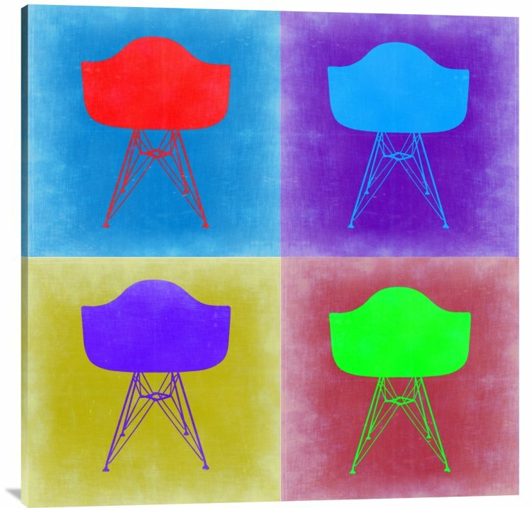 Naxart 39 eames chair pop art 3 39 graphic art print on canvas for Pop furniture eames