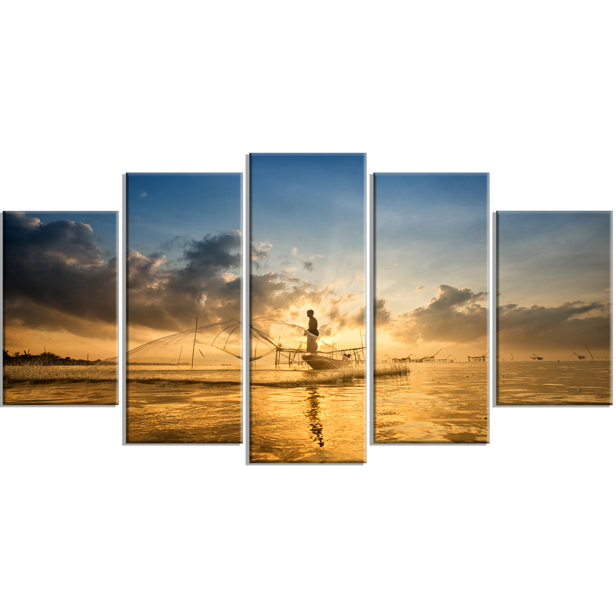 Designart Pakpra With Fisherman At Sunrise Photographic Print Multi Piece Image On Canvas Wayfair