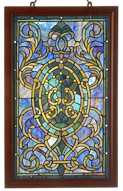 Warehouse of Tiffany Wood Frame Stained Glass Window Panel | Wayfair
