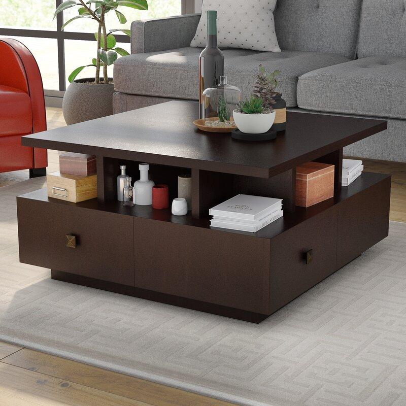 Latitude Run Square Coffee Table With Storage Amp Reviews
