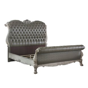 Sleigh Rolled Design Leatherette Eastern King Bed With Claw Legs Gray by Benjara