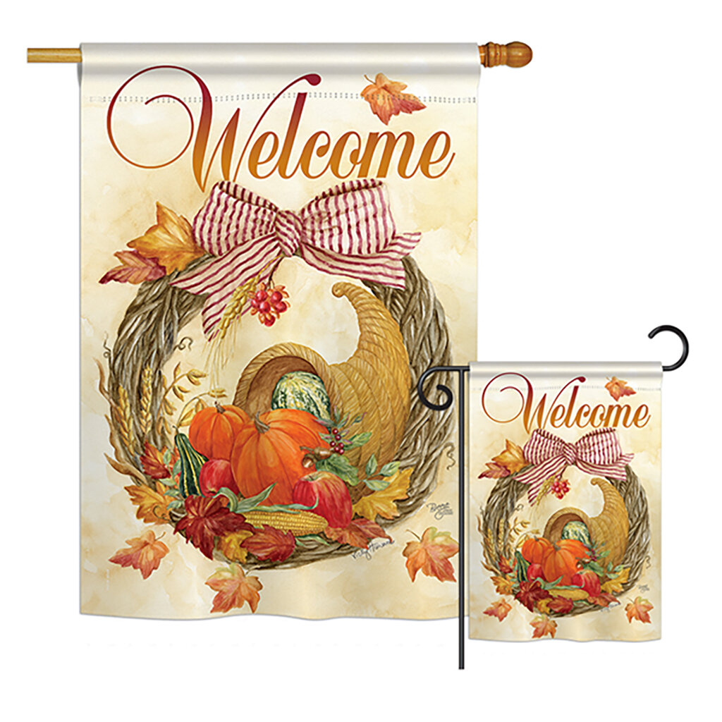 Breeze Decor Cornucopia Wreath Fall Harvest And Autumn 2 Sided Polyester 2 Piece Flag Set Wayfair