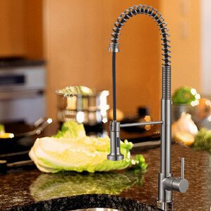 Upscale Designs by EMA Single Handle Deck Mounted Kitchen Faucet with Pull-Down Spray and Soap Dispenser