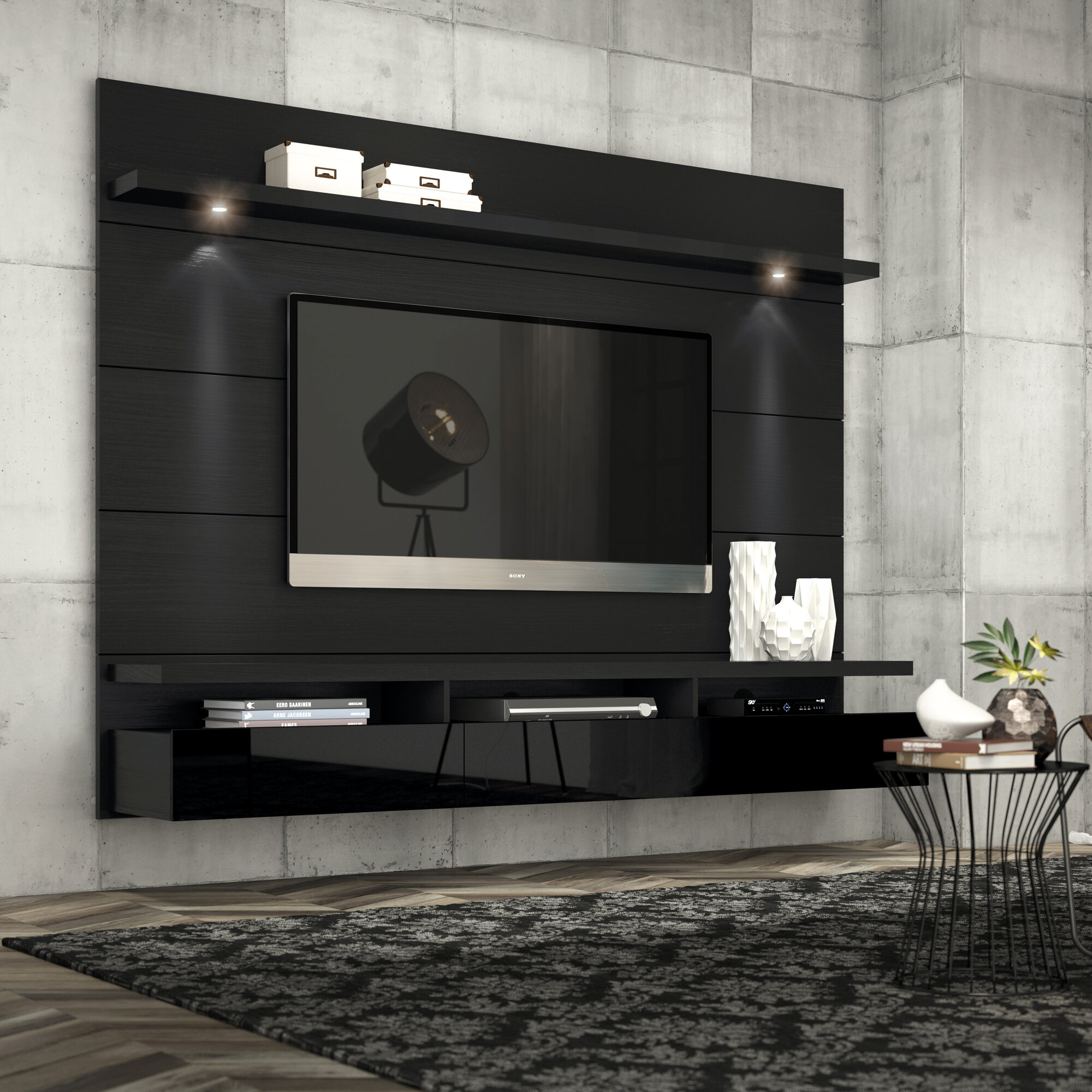 Ivy Bronx Haywards Floating Entertainment Center For Tvs Up To 75 Reviews Wayfair
