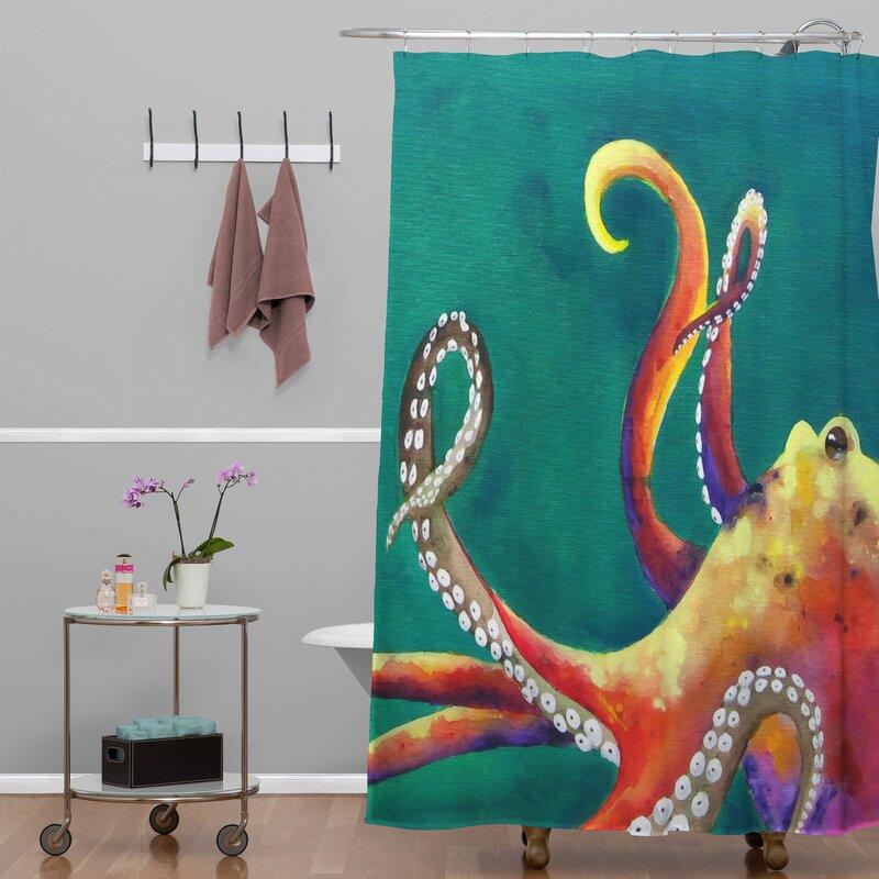 Mardi Gras Octopus Single Shower Curtain