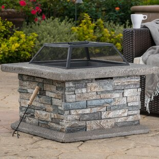 Coonrod Faux Stone Wood Burning Fire Pit Table