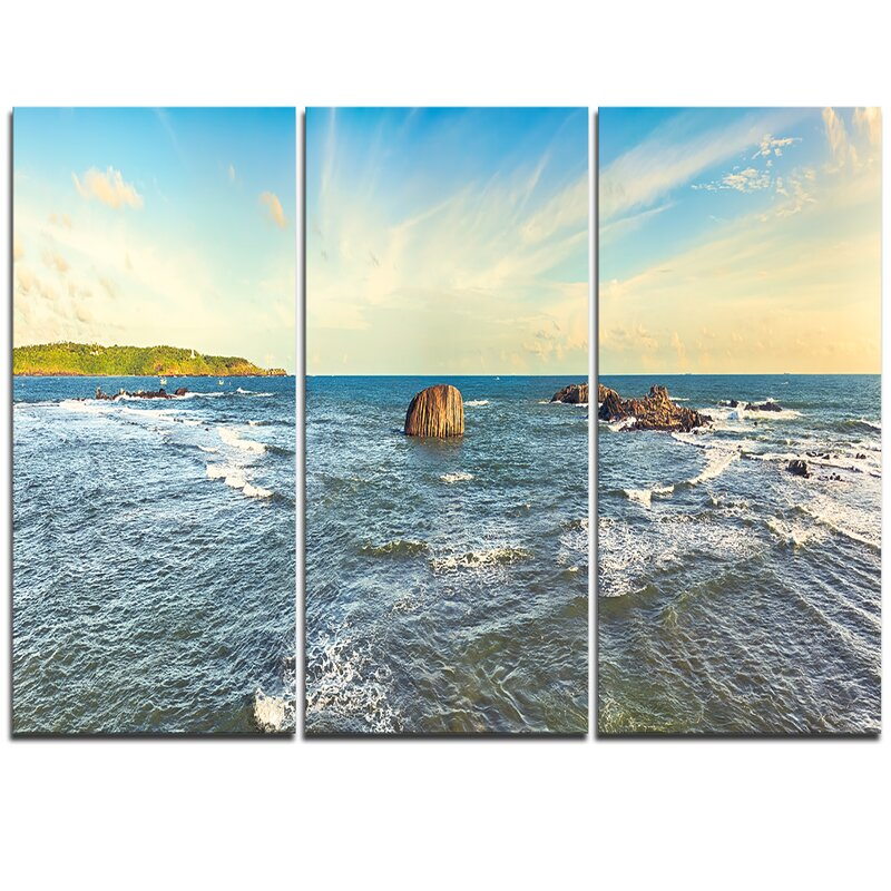 Designart The Indian Ocean Sea Panorama 3 Piece Graphic Art On Wrapped Canvas Set Wayfair