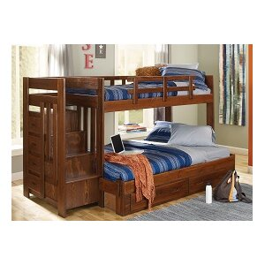 Twin over Full Bunk Bed with Reversible Stairway and Under Storage