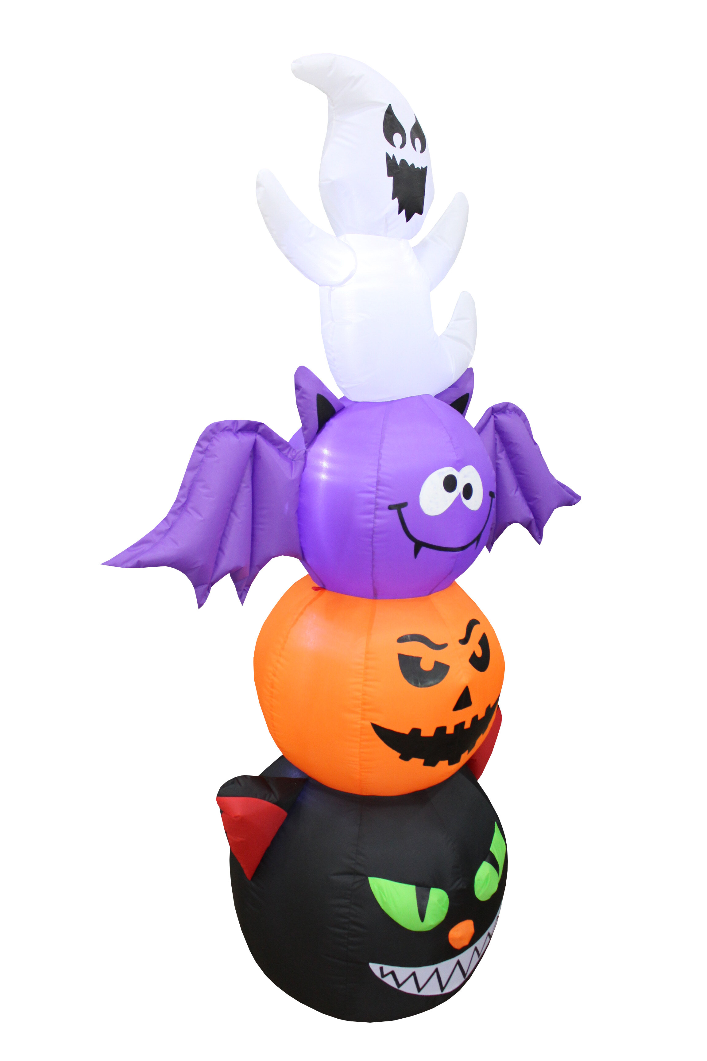 The Holiday Aisle Halloween Stacked Figures Totem Pole Inflatable With Cat Pumpkin Bat And Ghost Reviews Wayfair