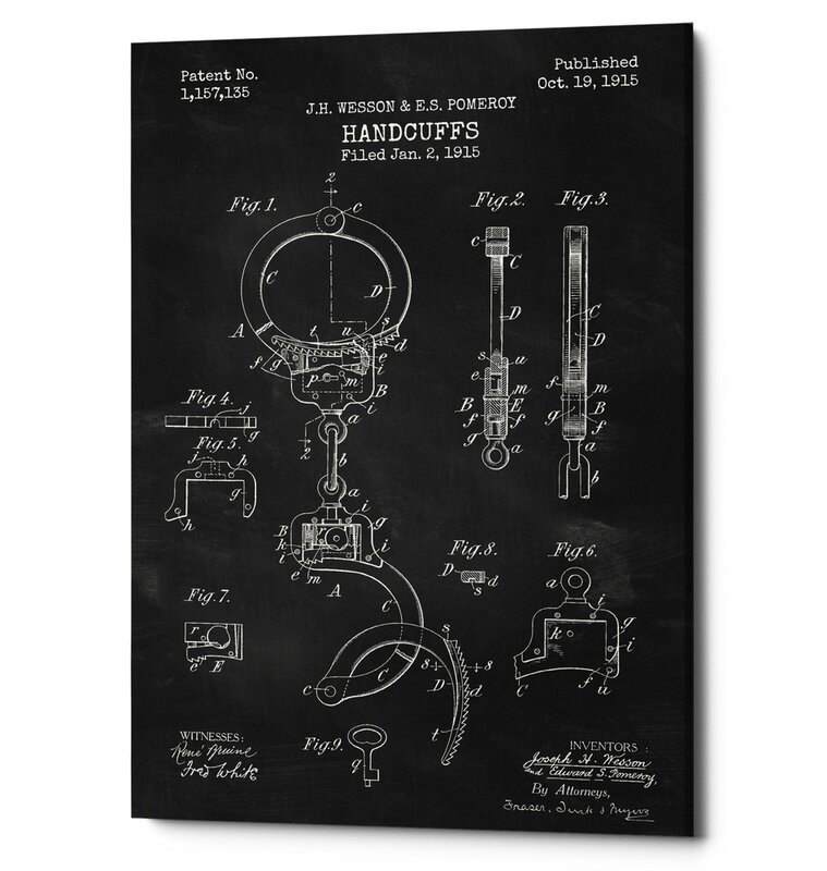 Handcuff Patent Print Chalkboard